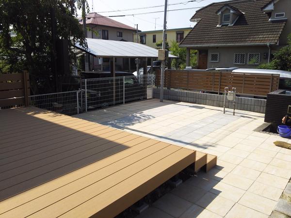 フェンスとウッドデッキを設置!使いやすくスッキリしたお庭に