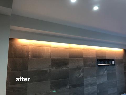 リビング照明・壁掛けテレビ設置工事 おしゃれな雰囲気にリフォーム 4枚目