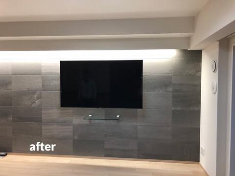 リビング照明・壁掛けテレビ設置工事 おしゃれな雰囲気にリフォーム