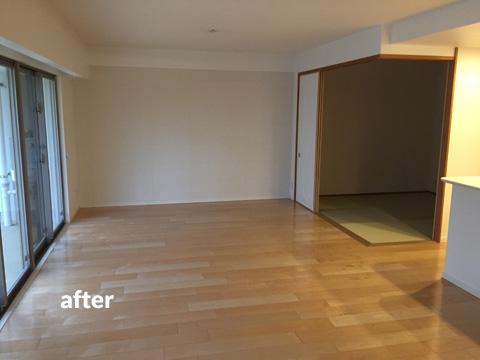 マンション1階住居をナチュラル感のある床材で暖かみのある空間に