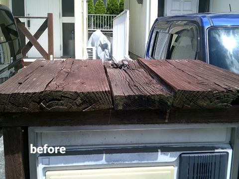 門柱型ポストの修復工事 イタウバ材を使って落ち着いた雰囲気に 2枚目