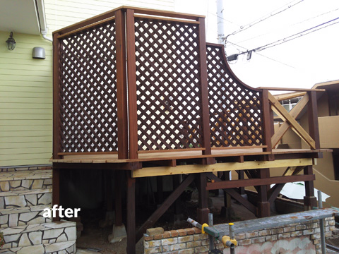 ウッドデッキ改修&外壁塗装工事 補強して耐久性もバッチリ 8枚目