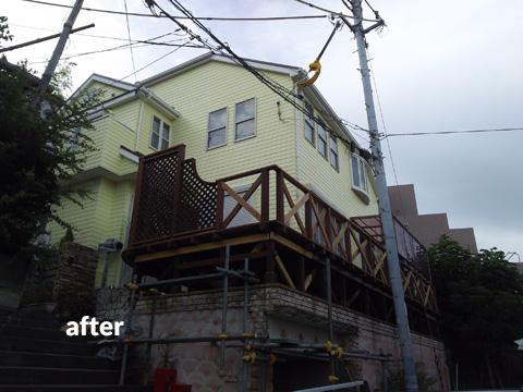 ウッドデッキ改修&外壁塗装工事 補強して耐久性もバッチリ