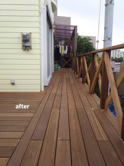 ウッドデッキ改修&外壁塗装工事 補強して耐久性もバッチリ 4枚目