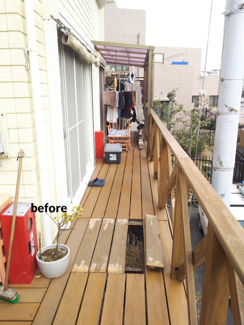 ウッドデッキ改修&外壁塗装工事 補強して耐久性もバッチリ 7枚目